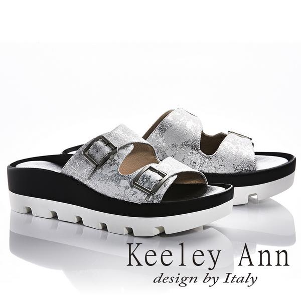 Keeley Ann美式嬉皮~個性暈染真皮軟墊厚底拖鞋(白色831033140)