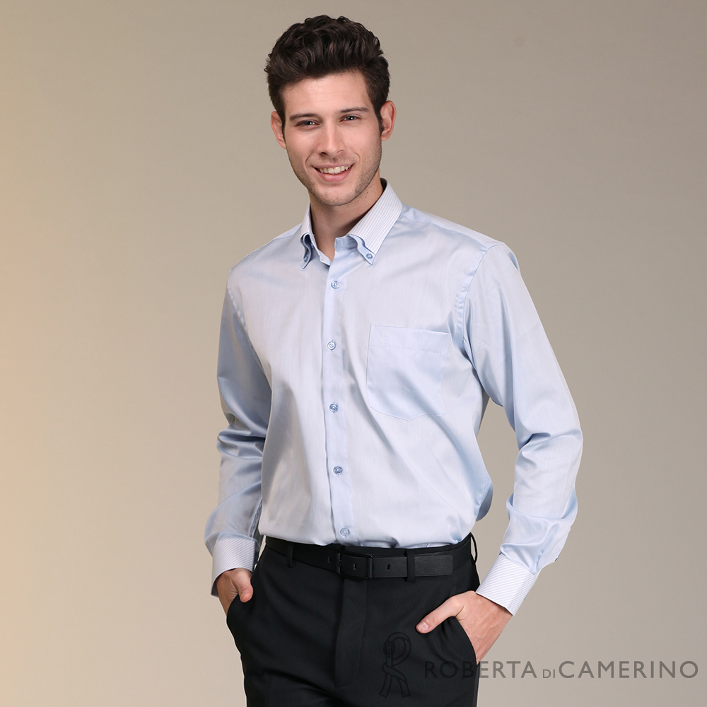 ROBERTA諾貝達 進口素材 台灣製 商務都會 純棉長袖襯衫 藍色