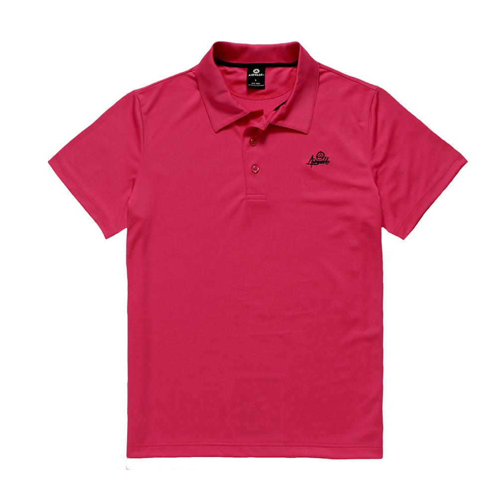 美國AIRWALK -簡約時尚吸濕排汗POLO衫-桃紅