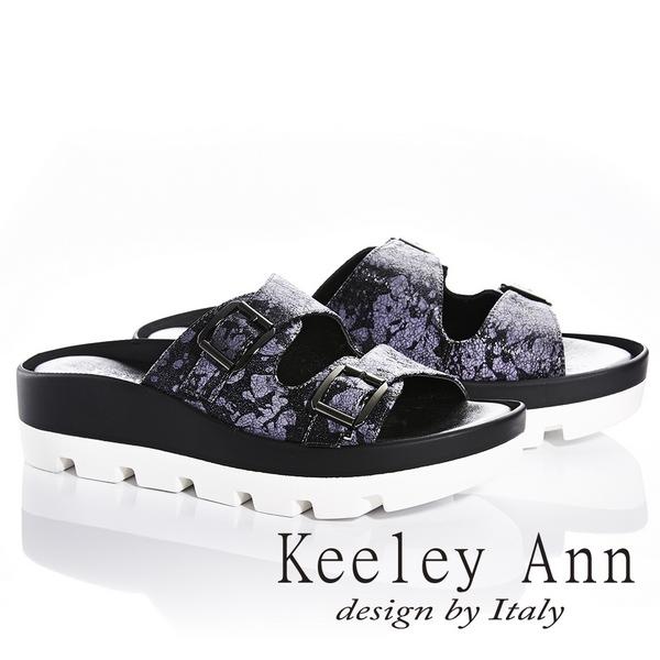 Keeley Ann美式嬉皮~個性暈染真皮軟墊厚底拖鞋(黑色831033110)