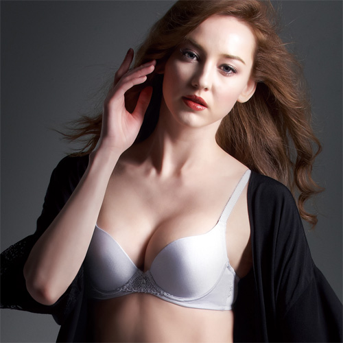 華歌爾莎露-旅行郵輪系列 C-D 罩杯內衣(星光灰)簡單集中包覆-增量型胸罩