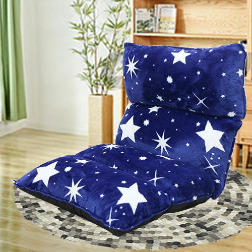 【KOTAS】法蘭絨3D立體可調式五段和室椅折疊椅休閒椅-藍