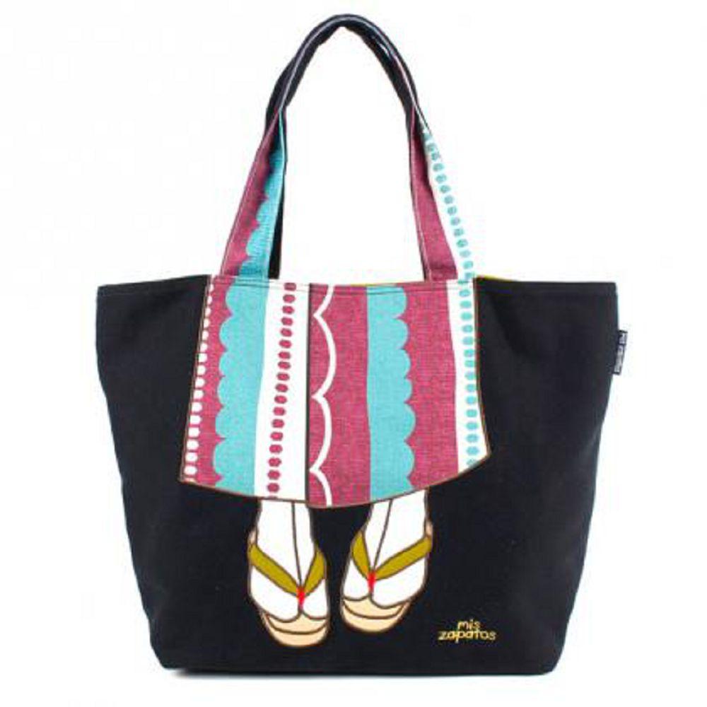 【mis zapatos】繽紛日本和服女子托特包-黑色