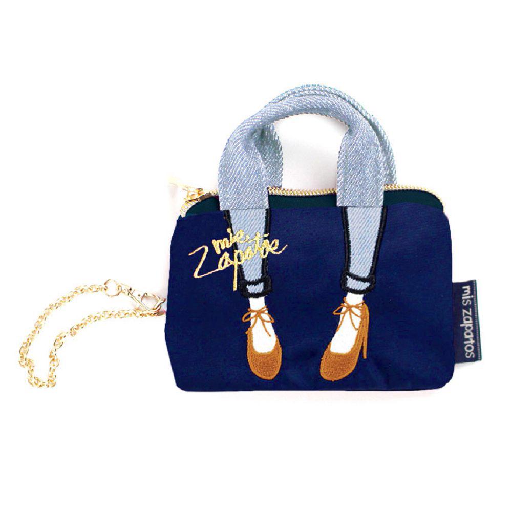 【mis zapatos】skinny蝴蝶結綁帶迷你零錢鑰匙包-藍色
