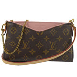 Louis Vuitton LV M44037 Pallas 經典花紋附斜背帶小鍊包.粉紅 現貨