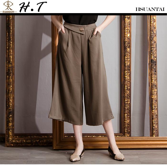 玄太-時尚後鬆緊雙口袋寬管褲 (軍綠)