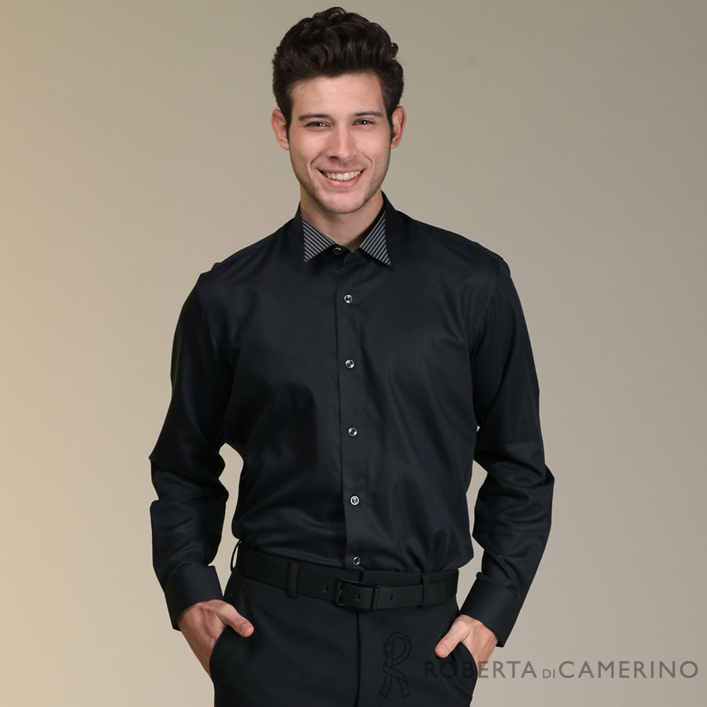 ROBERTA諾貝達 進口素材 台灣製 帥氣時尚長袖襯衫 黑色