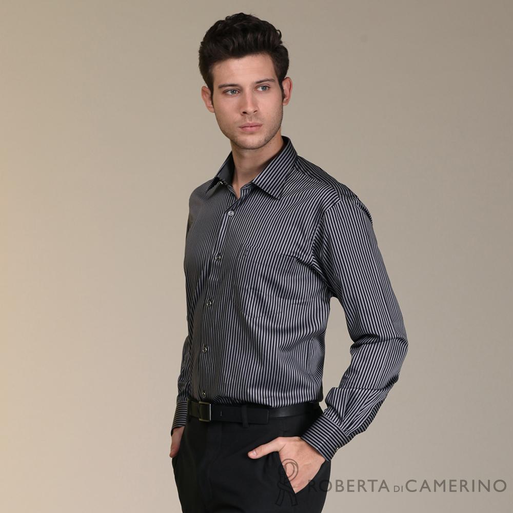 ROBERTA諾貝達 進口素材 台灣製 純棉時尚雙色條紋長袖襯衫 深灰