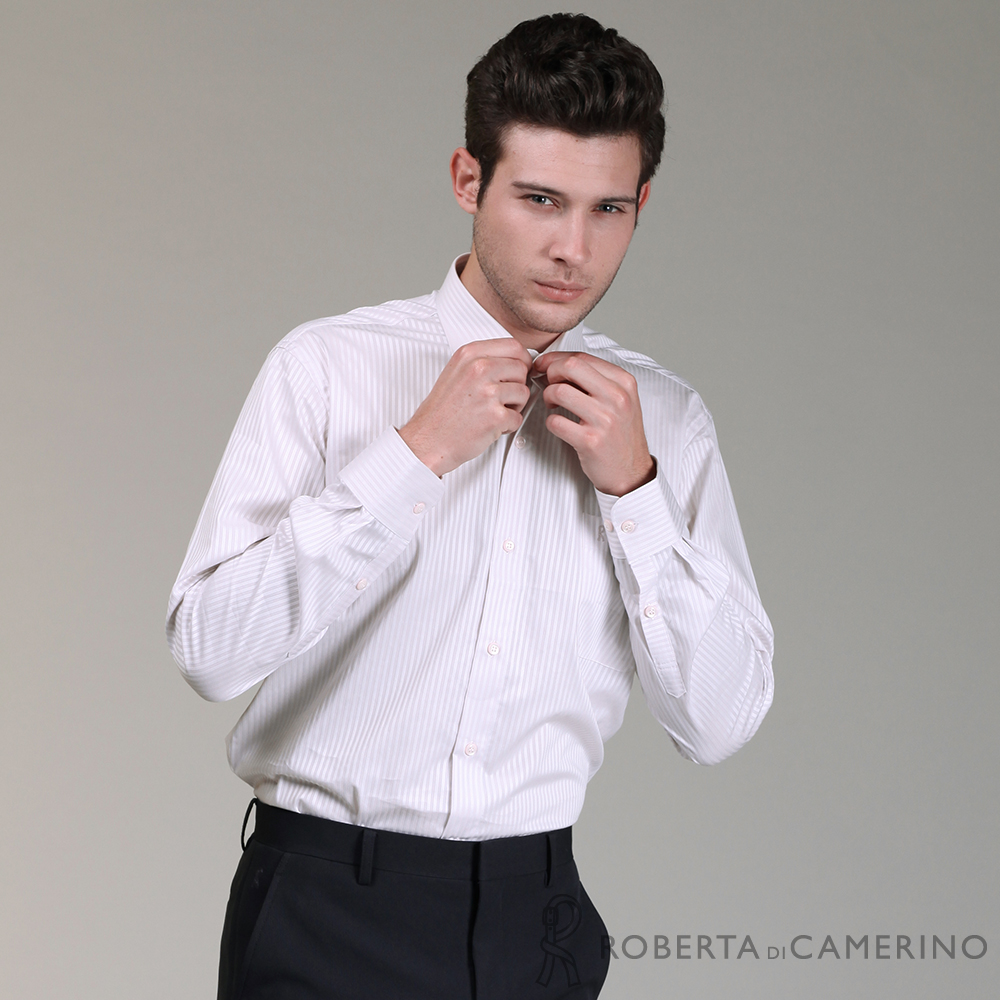 ROBERTA諾貝達 進口素材 台灣製 辦公型男 粗條紋長袖襯衫 淺粉