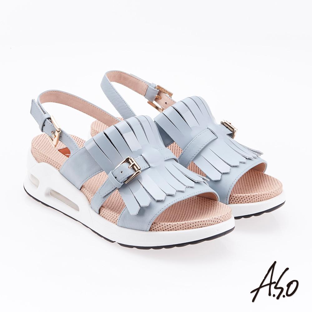 A.S.O 超能力 流蘇設計鏡面皮革奈米鞋墊休閒涼鞋(灰)