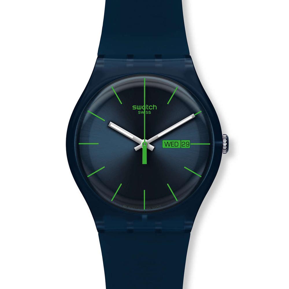 Swatch   時尚深海藍石英腕表   SUON700