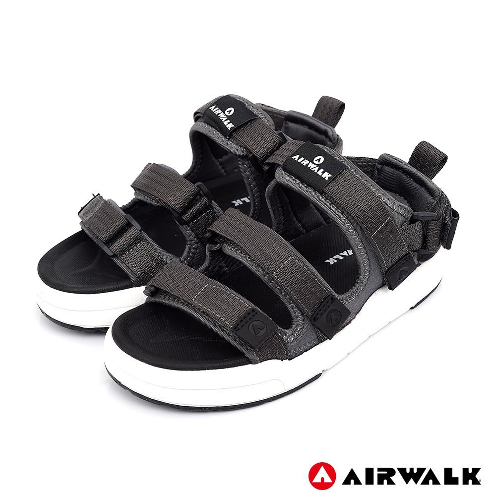 【美國 AIRWALK】魔鬼氈增高二穿式涼鞋-情侶款(深灰)