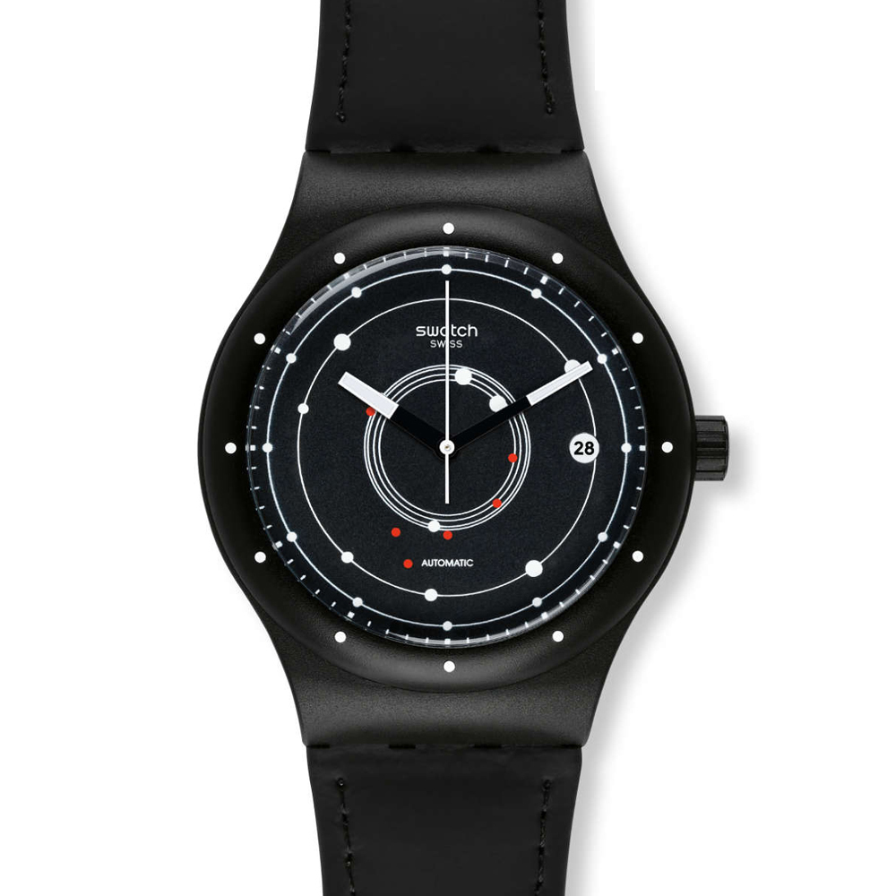 Swatch  同心圓雙面冒險皮革腕表   SUTB400