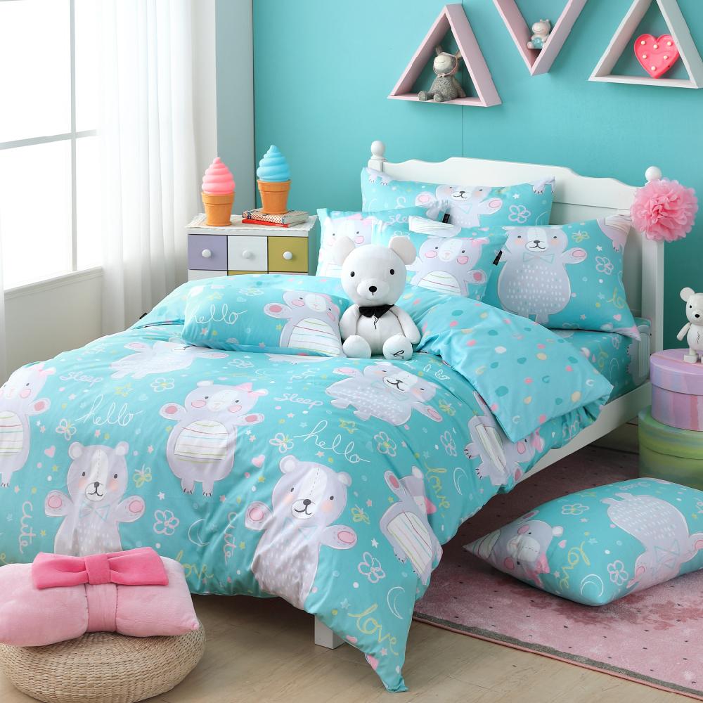 OLIVIA 《 抱抱熊 》 標準單人床包美式枕套兩件組 童趣系列