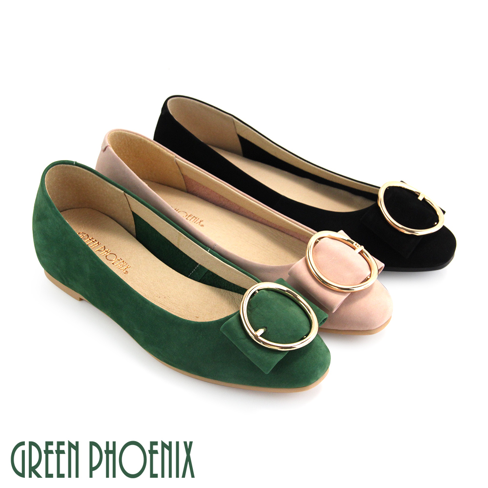 【GREEN PHOENIX】金屬圓圈寬版牛麂皮平底娃娃鞋