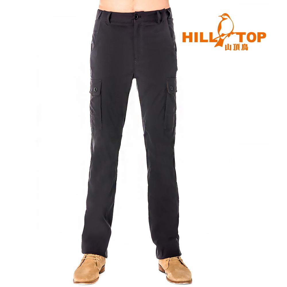 【hilltop山頂鳥】男款吸濕排汗抗UV彈性長褲S07MB5-瑪瑙黑