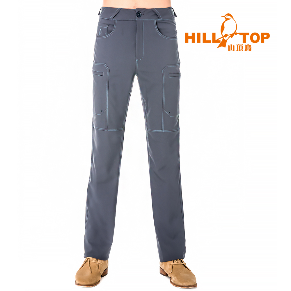 【hilltop山頂鳥】男款吸濕排汗抗UV彈性長褲S07MB3-貓灰