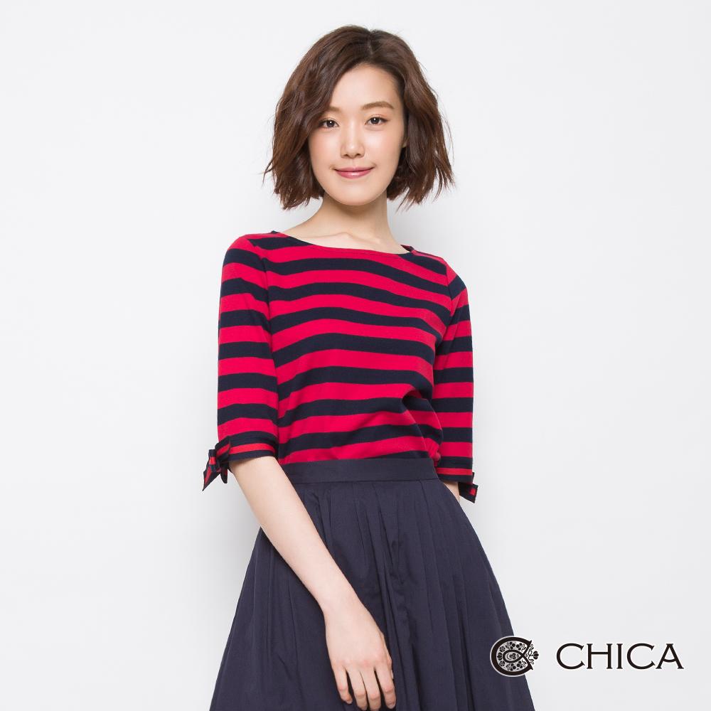 CHICA 法式甜美橫條紋蝴蝶結設計上衣(2色)