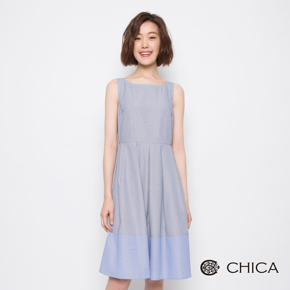 CHICA 法式女孩條紋拼接設計洋裝(2色)