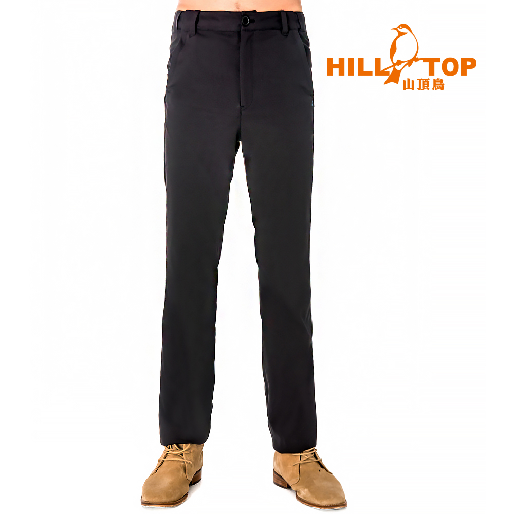 【hilltop山頂鳥】男款抗UV超潑水彈性長褲S07MB6-瑪瑙黑
