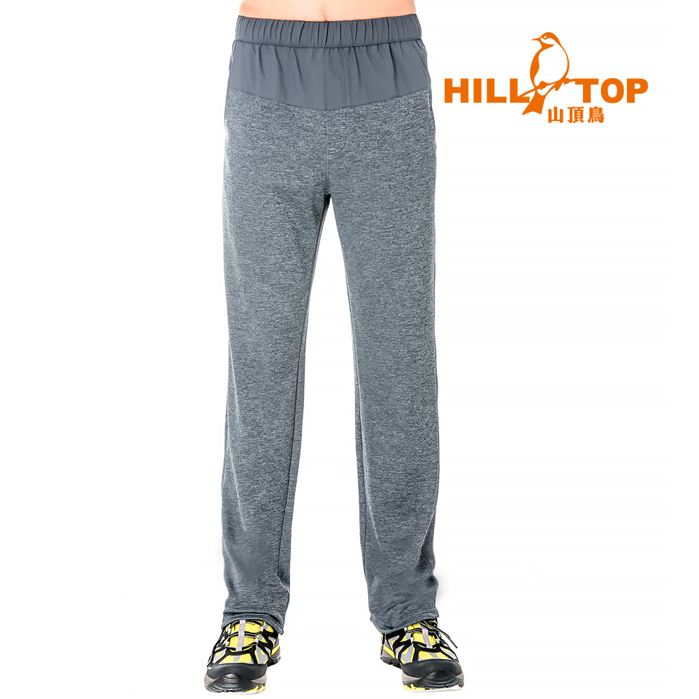 【hilltop山頂鳥】男款吸濕排汗抗UV彈性長褲S07MB4-印墨灰