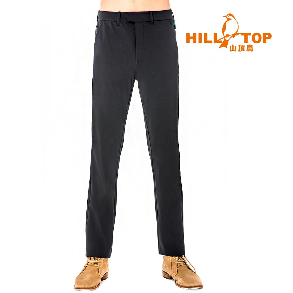 【hilltop山頂鳥】男款3倍吸濕快乾超潑水彈性長褲S07MB1-黑