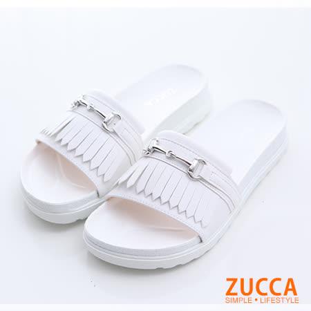 ZUCCA 流蘇金屬環休閒拖鞋