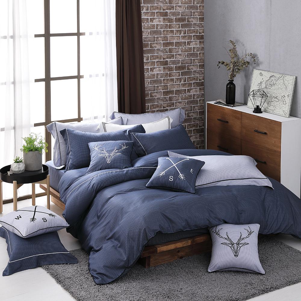 OLIVIA 《 霍華德 藍 》 標準雙人床包歐式繡線枕套組 棉天絲系列 全程台灣生產製作