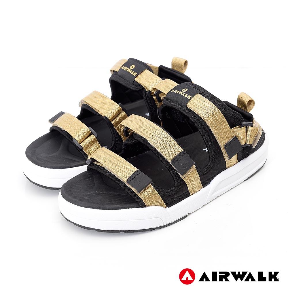 【AIRWALK-快速到貨】-魔鬼氈增高二穿式涼鞋-情侶款(金色)