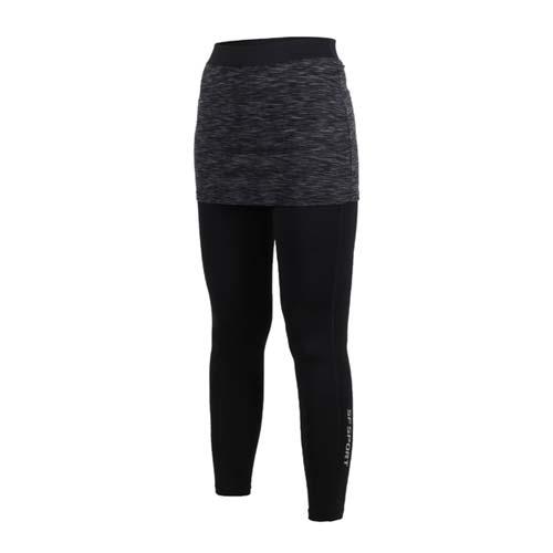 (女) SOFO 九分韻律褲-假兩件 有氧 瑜珈 慢跑 路跑 長褲 緊身褲 黑灰