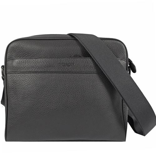 COACH  經典LOGO素面荔枝皮革織帶斜背包.黑