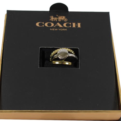 COACH 時尚新款經典LOGO金銀混和圓形三環戒指