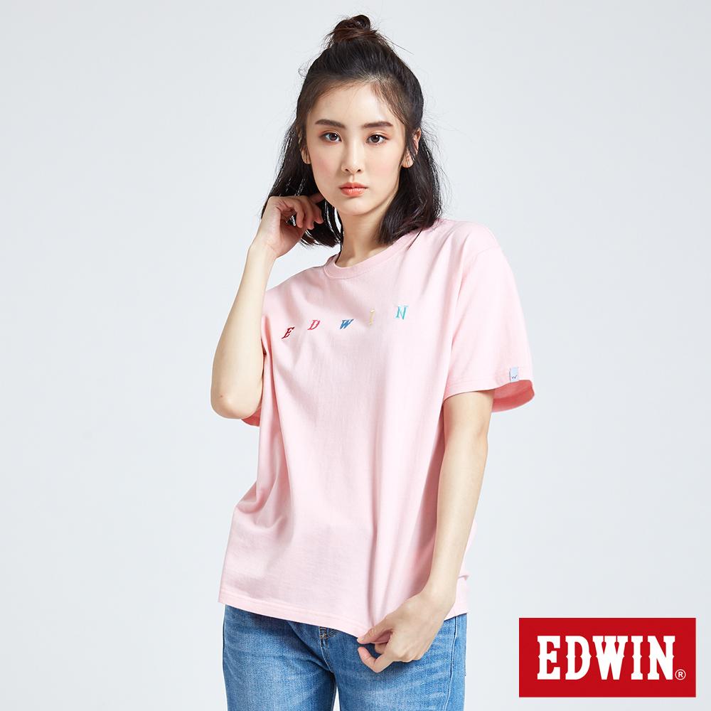 EDWIN  繽紛LOGO繡花短袖T恤-女-淺粉紅