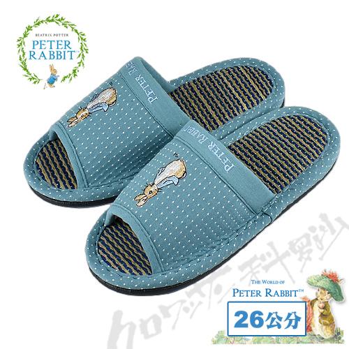 【クロワッサン科羅沙】Peter Rabbit 雪點素邊草蓆室內拖鞋 (藍色26CM)