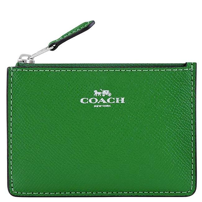 COACH 馬車防刮皮革鑰匙零錢包-綠色