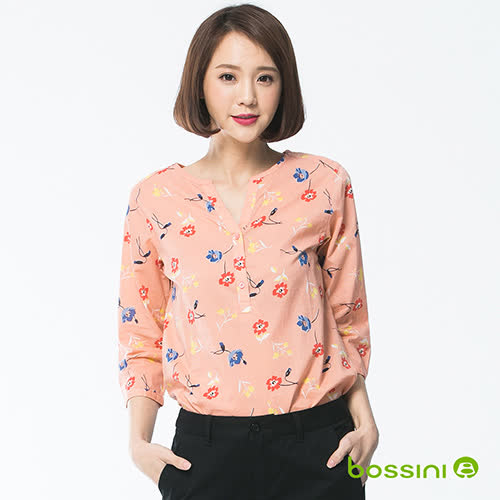 bossini女裝-七分袖造型襯衫07珊瑚色(品特)