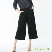 bossini女裝-素色七分寬褲06黑(品特)