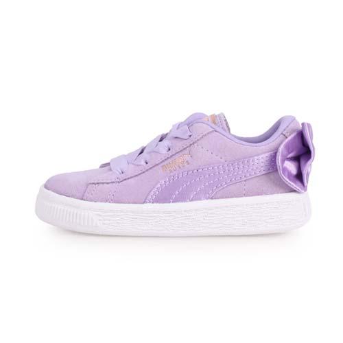 (童) PUMA SUEDE BOW AC INF 女兒休閒運動鞋-蝴蝶結款-慢跑 粉紫