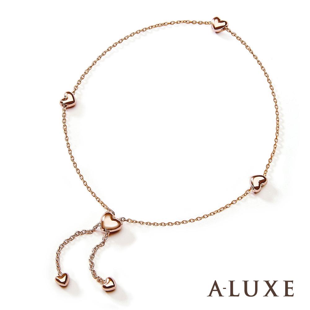 A-LUXE 亞立詩鑽石 日系輕珠寶 10K玫瑰金 愛心手鍊-長度可調
