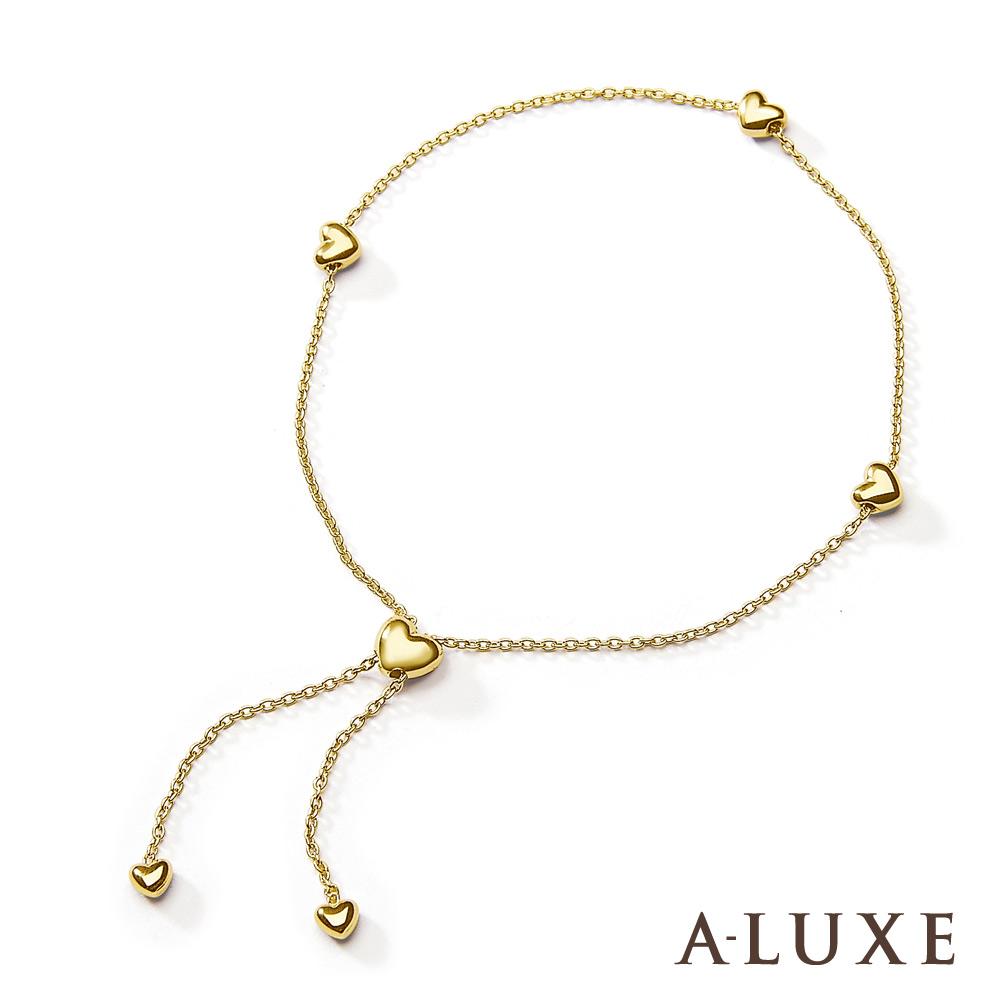 A-LUXE 亞立詩鑽石 日系輕珠寶 10K黃金 愛心手鍊-長度可調