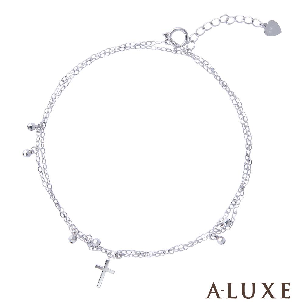A-LUXE 亞立詩 鉑金PT950十字架雙層腳鍊