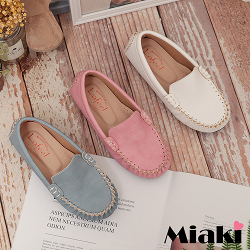 【Miaki】童鞋.經典時尚平底休閒懶人鞋  (白色 / 粉色 / 藍色)