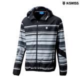 K-Swiss Stripe Widbreaker風衣外套-男-灰/黑