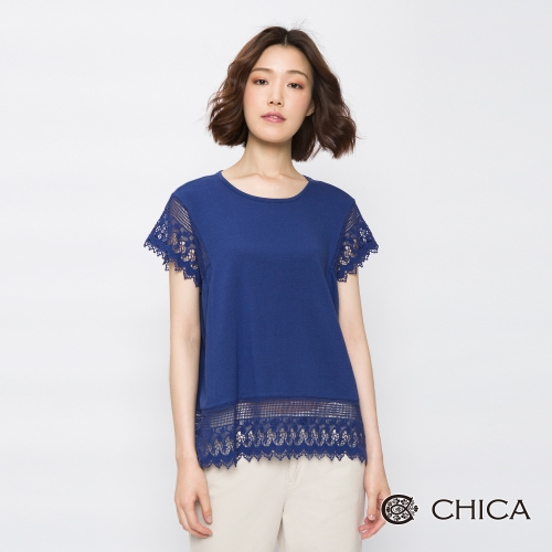CHICA 清新田野蕾絲拼接設計上衣(3色)
