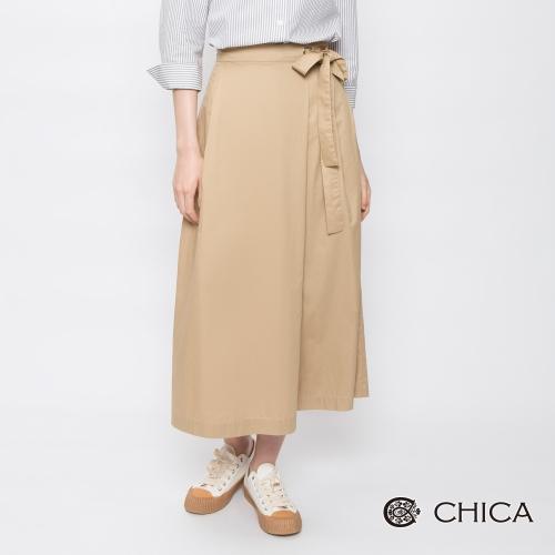 CHICA 率性優雅純色側綁帶設計寬褲(2色)