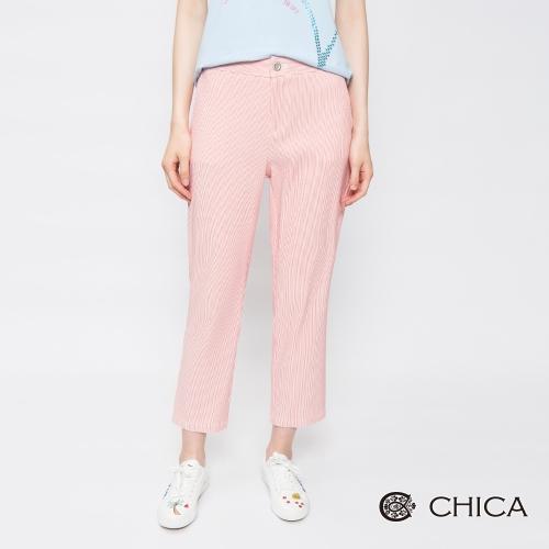 CHICA 繽紛春日細條紋九分直筒褲(2色)