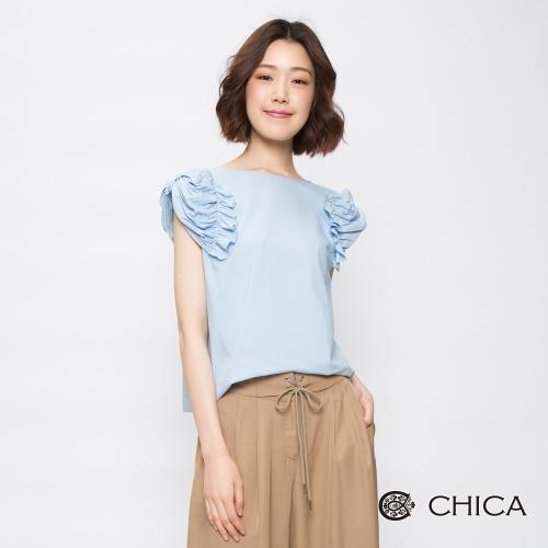 CHICA 法式奢華純色宮廷袖設計上衣(2色)
