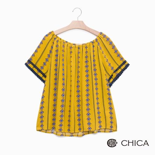 CHICA 夏日波西米亞印記抓皺圓領上衣(2色)