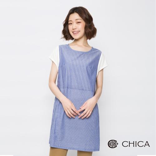 CHICA 日系清甜條紋拼接長版上衣(2色)