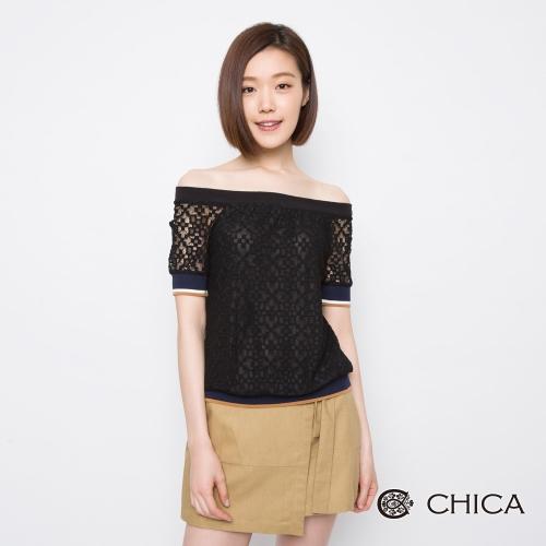 CHICA 清甜復古鏤空花藝蕾絲上衣(2色)